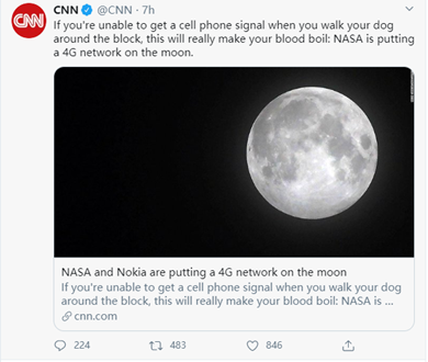 NASA plans to work with Nokia to create 4G services on the moon.